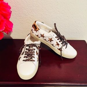 St Laurent Court Classic Leopard Sneakers Leather
